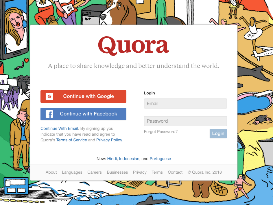 Screenshot of the website Quora's login page.