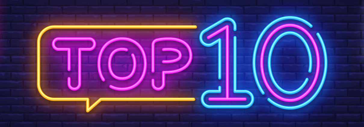 Neon sign reading top 10