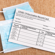 coronavirus vaccine card and fast maske
